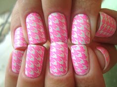 Pink and white nails.