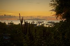 The port Ayora on the Galapagos Islands as seen with the sun rising.