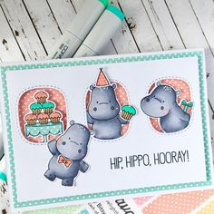 """40 Likes, 10 Comments - Ali (@alilovescardmaking) on Instagram: """"Can't have too many Happy Hippos!! #mftstamps #mftcolorchallenge #thescrapbookstore"""""""