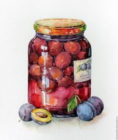 This apple cider recipe is made with fresh apples, oranges, and pomegranates for a delicious way Watercolor Food, Watercolor Illustration, Watercolor Paintings, Watercolour, Decoupage, Food Sketch, Buch Design, Food Painting, Pintura Country