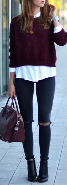 fall outfits burgundy knit