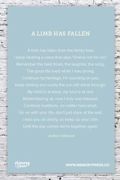 A Limb has Fallen, a Collection of Non-Religious Funeral Poems curated by Memory Press - creatTVors of beautiful, uplifting, and memorable Funeral Programs