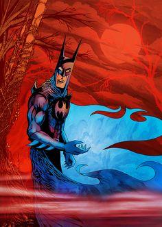 Batman Gothic. Digital mixed media by Damian K. Sheiles.