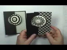 cardmaking video ... CircleThinlits Card Die w/Extended Flap w/Dawn O ...great video tutorial  ... black and white ... layered medallion on the circle ... Stampin' Up!