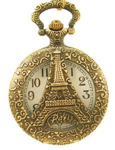 Vintage Engraved Jewelry Carving Flip Cover Style Antique Copper Pocket Watch Fashion Retro Eiffel Tower ABC-TIMEPIECES. $14.99