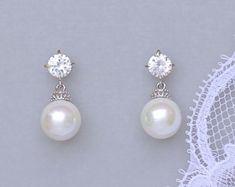Lámpara nupcial pendientes pendientes de perla de por adriajewelry