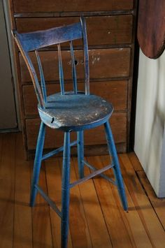 Early Windsor youth chair in original old blue