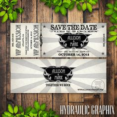 Printable Concert Ticket Wedding Save the Date by HydraulicGraphix