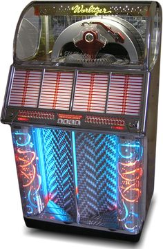 1954 Wurltizer Model 1700 jukebox, showing the beautiful colored light display. These machines are seriously cool.