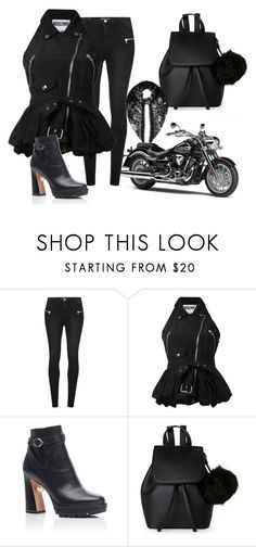 """Biker (inspired by queen-bella) 👑👑"" by maryamlovesbeauty ❤ liked on Polyvore featuring Morgan, Moschino, Nicholas Kirkwood, IMoshion and Alexander McQueen"