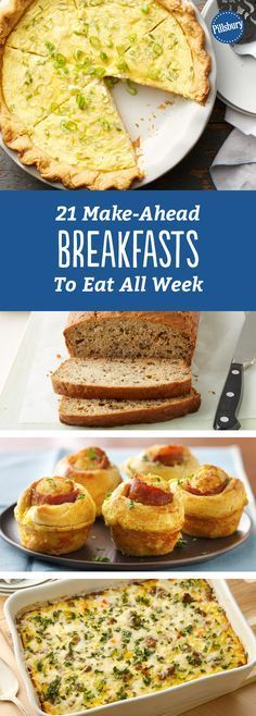 Let's Do Brunch: 21 Make-Ahead Breakfasts to Eat All Week: Cook once, eat twice. Or three or four times even, with these simple make-ahead breakfasts. Breakfast And Brunch, Breakfast On The Go, Make Ahead Breakfast, Breakfast Dishes, Breakfast Recipes, Office Breakfast Ideas, School Breakfast, Morning Breakfast, Make Ahead Meals