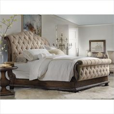Lowest price online on all Hooker Furniture Rhapsody Tufted Sleigh Bed in Rustic Walnut - 5070-905XX