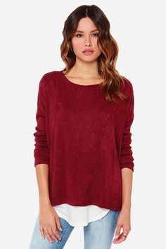 Cozy Wine Red Sweater - Long Sleeve Sweater - $34.00