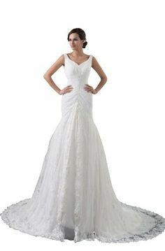 Herafa Mermaid Wedding Dress Chapel Train Rows of Lace & Delicate Beading, http://www.amazon.com/dp/B00BEWLBC4/ref=cm_sw_r_pi_awdl_mnSHsb00N6DWQ