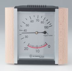 Hygrometer:  wood trim/metallic face Sauna Accessories, Wood Trim, Cooking Timer, Health And Wellness, Saunas, Metallic, Face, Wood Molding, Health Fitness