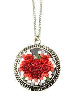 Floral Pendant Necklace Roses • Floral jewelry • Filigree • Cameo • Сameo pendant • Christmas gift idea • Christmas • Boho • Flower bouquets