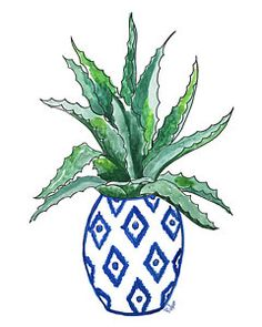 Succulent Painting - Chinoiserie Cactus by Roleen Senic