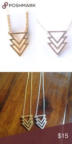 """Three Triangle Necklace Price is for one- either gold or silver! Chain: 18"""". 18k Gold or silver plated. Lobster clamp. All brand new! Jewelry Necklaces"""