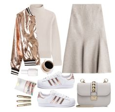 """""""Nude and metallic"""" by lidia-solymosi ❤ liked on Polyvore featuring Vanessa Seward, adidas, Alberta Ferretti, Valentino, Sans Souci and Essie"""