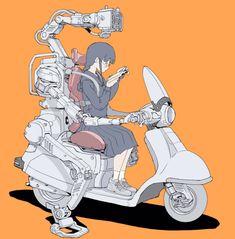 乗り物系 / Twitter Comics Illustration, Illustrations And Posters, Robot Girl, Animation, Character Design Inspiration, Manga, Yandere, Cyberpunk, Art Inspo