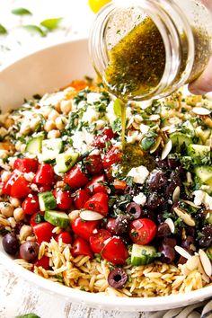 Pasta Salad Recipes, Veggie Recipes, Dinner Recipes, Cooking Recipes, Healthy Recipes, Vegetarian Pasta Salad, Healthy Pasta Salad, Recipe For Orzo Pasta, Easy Recipes