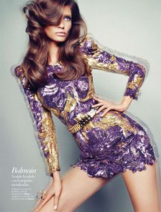 sequin dress fashion tumblr | fashion #style #purple dress #sequin dress #Bianca Balti