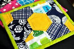 Hexie mug rug...Gotta make me some of these; cute!