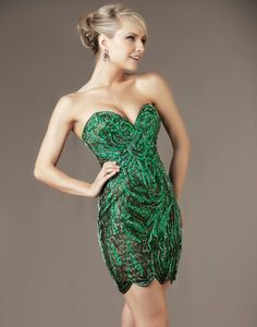 Emerald Rhineston Embellished Lace Strapless Sweetheart Homecoming Dress - Unique Vintage - Cocktail, Pinup, Holiday & Prom Dresses.