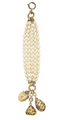 A Vintage Five Strand, Simulated Pearl Charm Bracelet  by Chanel