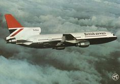 """Vintage Aircraft British Airways Lockheed TriStar 1 G-BBAF """"The Coronation Gold Rose"""" in a promotional image, circa (Photo: British Airways) - Cargo Aircraft, Military Aircraft, Aircraft Images, Bomber Plane, Air Festival, Cargo Airlines, Civil Aviation, Commercial Aircraft, British Airways"""