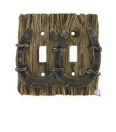 This polyresin Horseshoe Double Switch Plate Cover is the perfect way to bring a touch of outdoor charm into your home. In shades of brown, this cover features realistic faux wood grain and a detailed