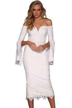 White Split Bell Sleeve Lace Hem Cocktail Midi Dress