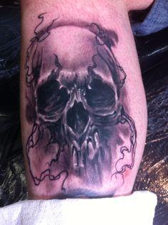 Skull tattoo, tattooed by me at Jazz Tattoo Edinburgh, thanks for looking