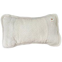 100% Organic Breathable Cotton Soft Washable Toddler Pillow with Pillowcase, 40x23x3cm (Natural Light Green Cotton)