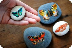 decorate rocks with rub-off transfers