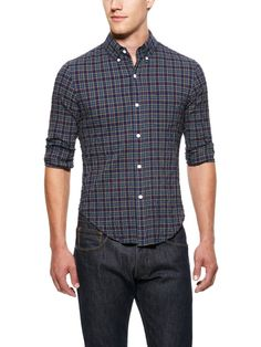 Crinkled Plaid Check Sport Shirt by Band of Outsiders