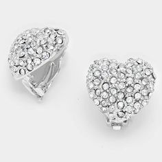 Crystal Pave Heart Clip on Earrings