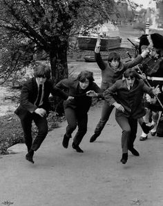 The Beatles, the pictures of them running together make me sad every time idk why
