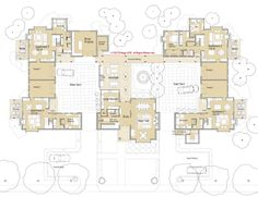 Michelle - Layout - I kind of love this one, because it seems like it could be shaped to ThisLand's shape. Love the two courtyard look, with the Common House in the middle and different amenities on each half.