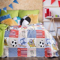 Cuvertura reversibila pat copii Magnus Multicolour, 170 x 210 cm Quilts, Blanket, Bed, Interior, Design, Home Decor, Decoration Home, Stream Bed, Indoor
