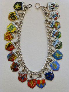 Vintage+Enamel+Travel+Shield+Charm+Bracelet+–+18+Charms!+