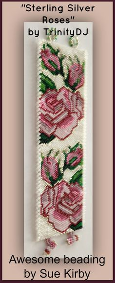 """No 2 this week is Peyote stitch bracelet pattern """"Sterling Silver Roses""""… Peyote Stitch Patterns, Seed Bead Patterns, Beaded Bracelet Patterns, Beading Patterns, Peyote Beading, Beads And Wire, Bead Weaving, Bead Crafts, Necklaces"""