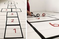 Hopscotch floor with washi paper