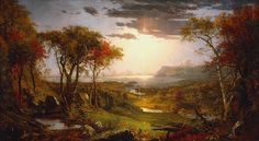 Jasper Francis Cropsey [American landscape artist of the Hudson River School, 1823 – oil on canvas National Gallery of Art, Washington D.C: ______________ Scan and extensive restoration by plumleaves National Gallery Of Art, Art Gallery, River Painting, Garden Painting, Rock Painting, Fine Art, Nocturne, American Artists, Art Reproductions
