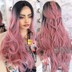 Rose Pink Hair, Light Pink Hair, Pink Ombre Hair, Hair Color Pink, Hair Dye Colors, Cool Hair Color, Black Hair With Highlights, Hair Highlights, Pastel Wig
