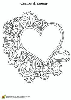 Coloriage Coeur Motif.Les 21 Meilleures Images De Coloriage Coeur En 2018