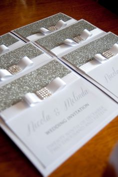 Silver Glitter Bow Wedding Invitation by DreamBrides on Etsy