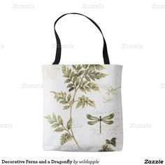 Decorative Ferns and a Dragonfly Tote Bag. Regalos, Gifts. #bolso #bag #DiaDeLasMadres #MothersDay