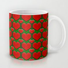 Grunge Hearts Pattern Mug by Danflcreativo - $15.00  #love, #love theme #print mugs, love motif mugs, #grunge #heart pattern mugs, love #pattern mugs, grunge love mugs , #mugs.