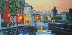 Title  Lake Como At Sunset  Artist  Sue Birkenshaw  Medium  Painting - Oil On Canvas